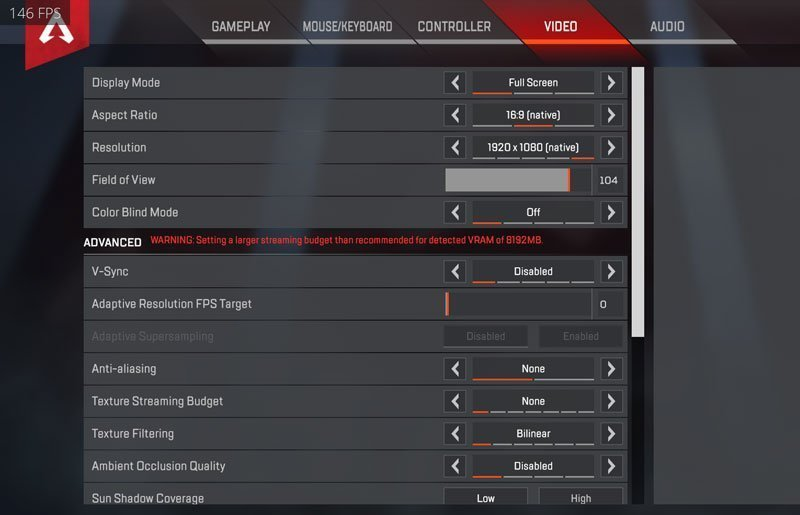 CouRage Apex Legends Settings