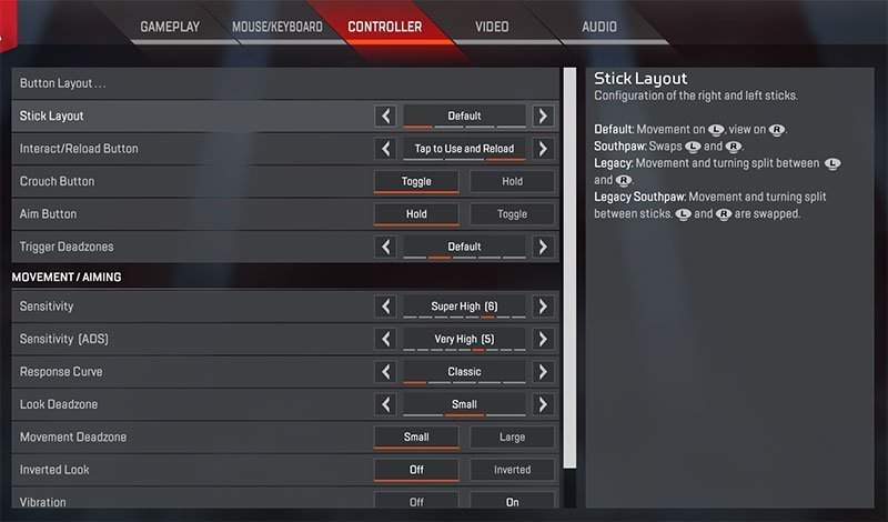 apex legends controller settings
