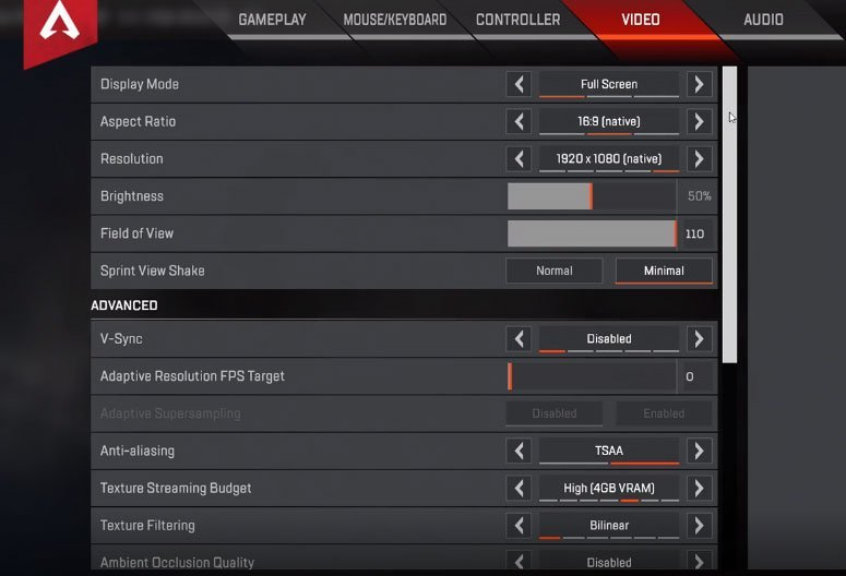Stormen Apex Legends Settings
