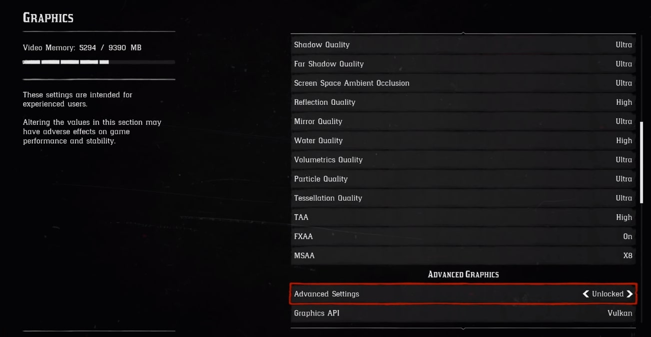 Red Dead Redemption Advanced Settings